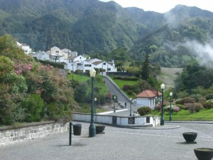 The Azores: a hillside with a cloud of steam