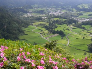 The Azores: view into a lush valley